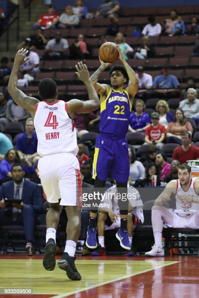 Michael Gbinije of the Santa Cruz Warriors shoots the ball against Memphis Hustle during an NBA GLeague game on March 10 2018 at Landers Center in...