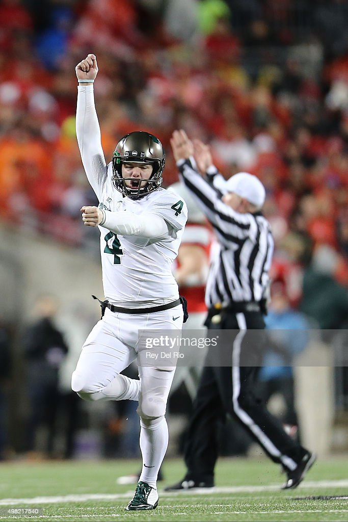 Michael Geiger #4 of the Michigan State Spartans celebrates his game winning field goal against the Ohio State Buckeyes at Ohio Stadium on November 21, 2015 in Columbus, Ohio.