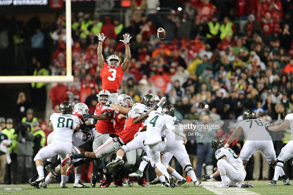 Michael Geiger #4 of the Michigan State Spartans kicks the game winning field goal against the Ohio State Buckeyes at Ohio Stadium on November 21, 2015 in Columbus, Ohio. Michigan State defeated Ohio State 17-14.