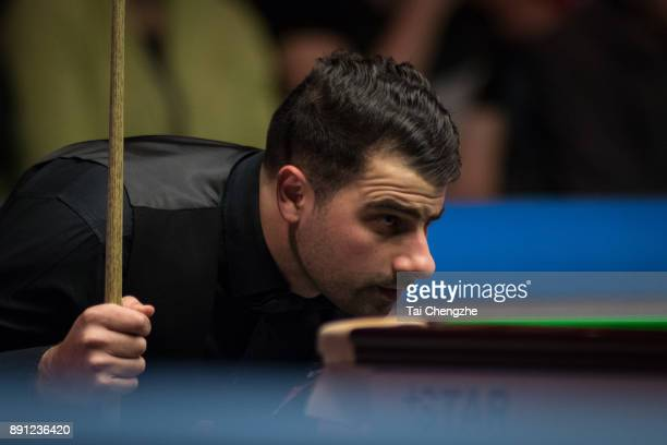 Michael Georgiou of Cyprus reacts during his first round match against Ronnie O'Sullivan of England on day two of the 2017 Scottish Open at Emirates...