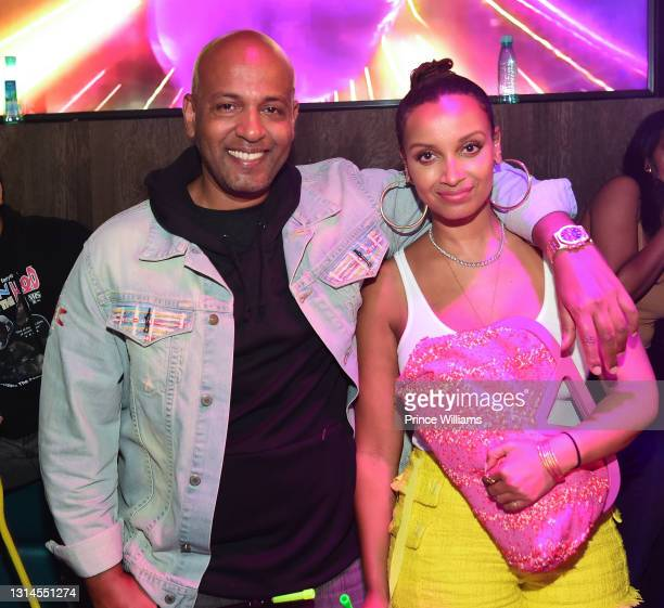 Michael Gidewon and Selam Gidewon attend Moneybagg Yo Album Release Party at Republic Lounge on April 24, 2021 in Atlanta, Georgia.