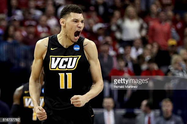 Michael Gilmore of the Virginia Commonwealth Rams celebrates points in the second half against the Oklahoma Sooners during the second round of the...