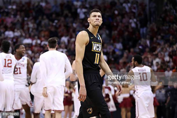 Michael Gilmore of the Virginia Commonwealth Rams reacts after being defeated by the Oklahoma Sooners with a score of 81 to 85 during the second...
