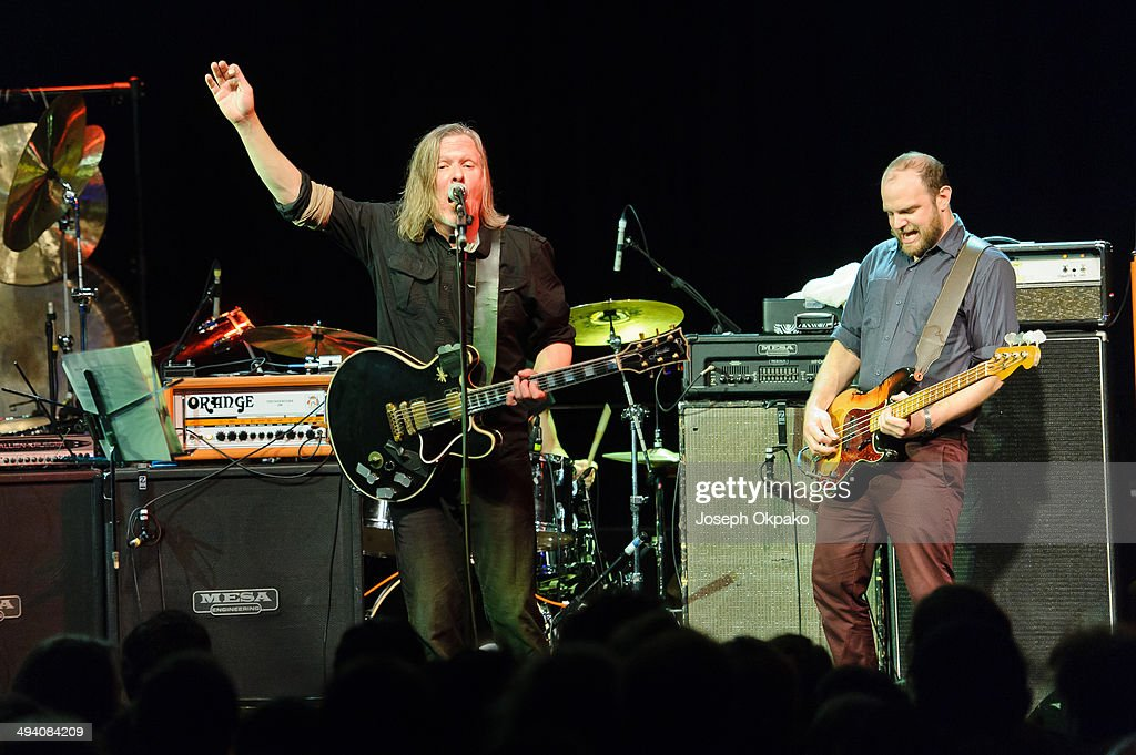 Michael Gira and Chris Pravdica of Swans performs on stage at Electric Brixton on May 27, 2014 in London, United Kingdom.
