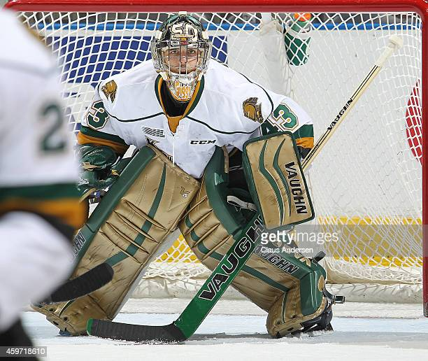 Michael Giugovaz of the London Knights waits to face a shot against the Erie Otters in an OHL game at the Budweiser Gardens on November 28 2014 in...