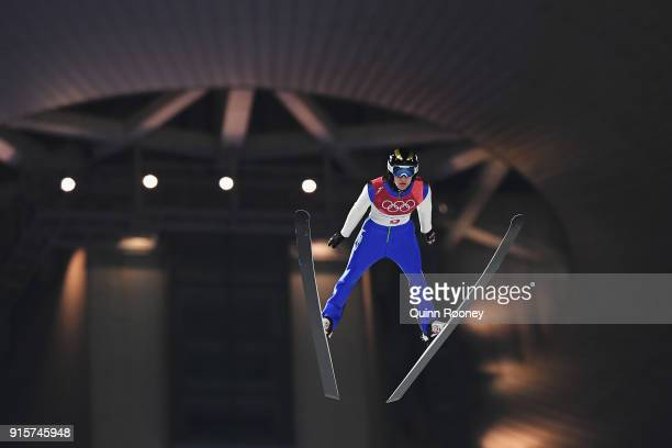Michael Glasder of the United States competes in the Men's Normal Hill Individual Qualification at Alpensia Ski Jumping Centre on February 8 2018 in...