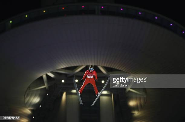Michael Glasder of the United States makes a jump during the Ski Jumping Men's Normal Hill Individual Final on day one of the PyeongChang 2018 Winter...
