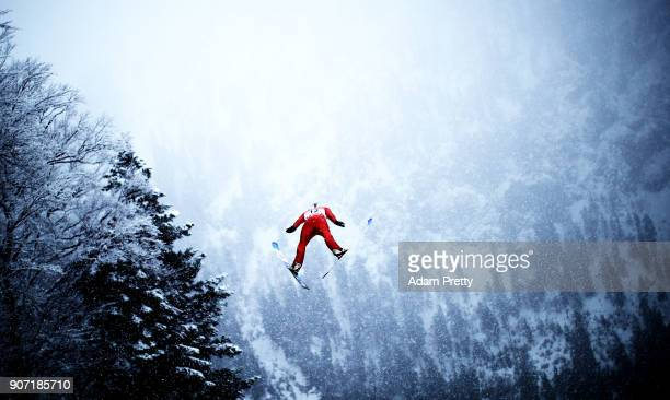 Michael Glasder of the USA soars through the air during his first competition jump of the Ski Flying World Championships on January 19 2018 in...