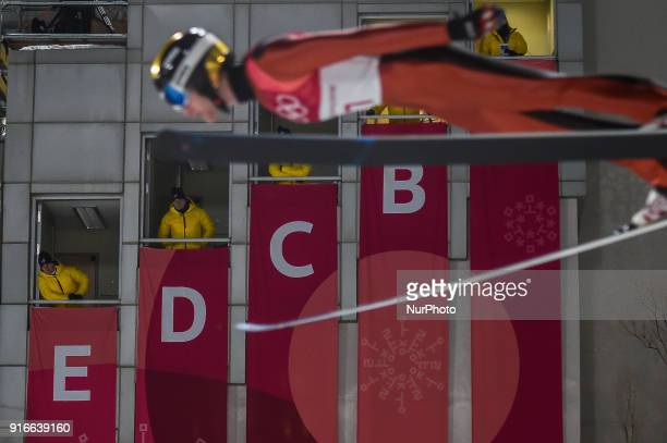 Michael Glasder of United States at mens normal hill final at 2018 Pyeongchang winter olympics at Alpensia Ski Jumping Centre Pyeongchang South Korea...