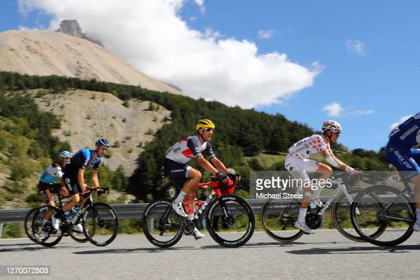 Michael Gogl of Austria and NTT Pro Cycling Team / Jasper Stuyven of Belgium and Team Trek - Segafredo / Benoit Cosnefroy of France and Team Ag2R La...