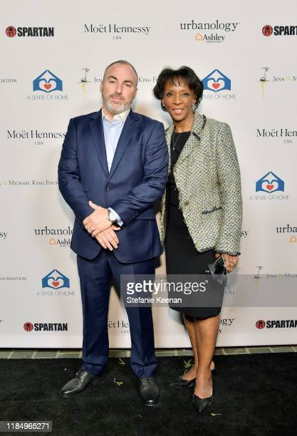 Michael Goldstein and Jackie Lacey attend A Sense Of Home's First Ever Annual Gala The Backyard Bowl at a Private Residence on November 01 2019 in...