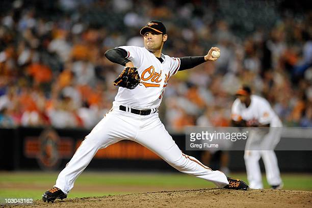 Michael Gonzalez of the Baltimore Orioles pitches against the Minnesota Twins at Camden Yards on July 22 2010 in Baltimore Maryland