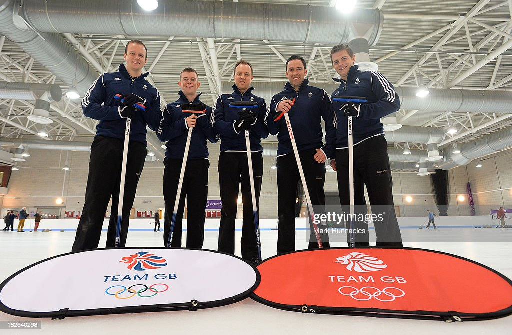 Michael Goodfellow, Greg Drummond, Tom Brewster, David Murdoch (Skip) and Scott Andrews during a press conference to announce they have been selected for the Team GB Curling team for the Sochi 2014 Winter Olympic Games at The Peak, Stirling Sports Village on October 02, 2013 in Stirling, Scotland.