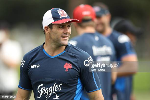 Michael Gordon looks on during the Sydney Roosters NRL training session at Kippax Lake on February 27 2017 in Sydney Australia