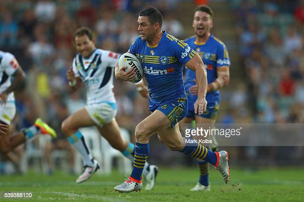 Michael Gordon of the Eels makes a break during the round 14 NRL match between the Parramatta Eels and the Gold Coast Titans at TIO Stadium on June...