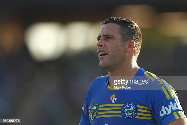 Michael Gordon of the Eels watches on during the round 14 NRL match between the Parramatta Eels and the Gold Coast Titans at TIO Stadium on June 11...