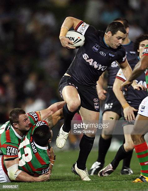 Michael Gordon of the Panthers steps out of a tackle during the round 24 NRL match between the Penrith Panthers and the South Sydney Rabbitohs at CUA...