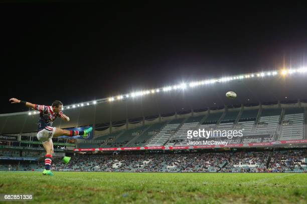 Michael Gordon of the Roosters attempts a conversion kick during the round 10 NRL match between the Sydney Roosters and the Parramatta Eels at...