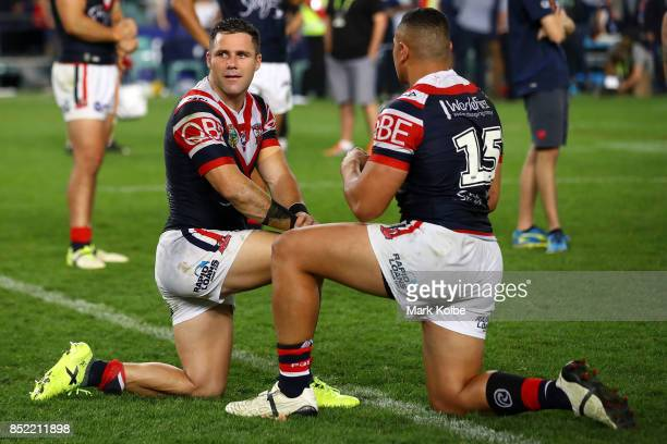 Michael Gordon of the Roosters looks dejected after defeat during the NRL Preliminary Final match between the Sydney Roosters and the North...