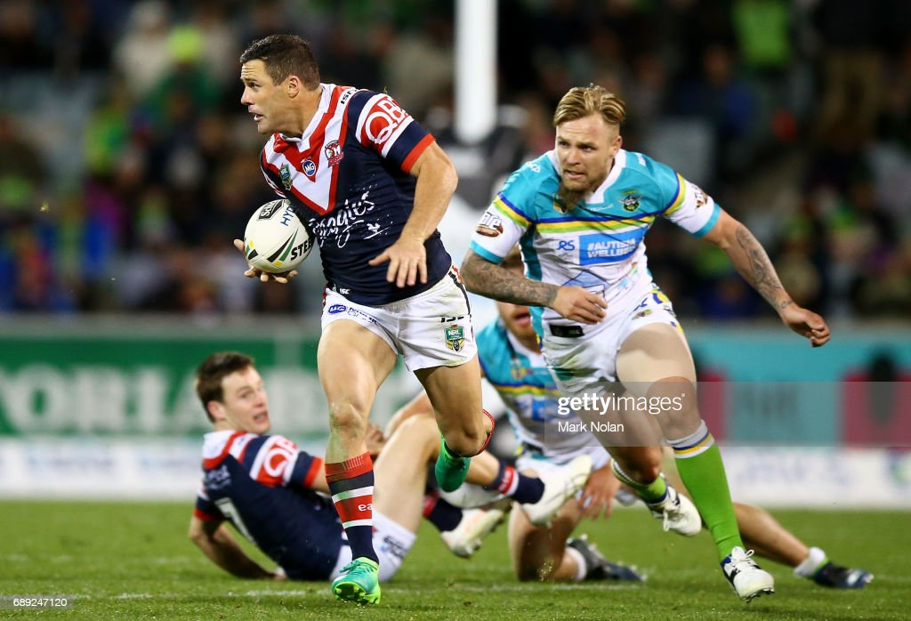 Michael Gordon of the Roosters makes a line break during the round 12 NRL match between the Canberra Raiders and the Sydney Roostrers at GIO Stadium on May 28, 2017 in Canberra, Australia.