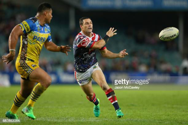 Michael Gordon of the Roosters passes the ball during the round 10 NRL match between the Sydney Roosters and the Parramatta Eels at Allianz Stadium...