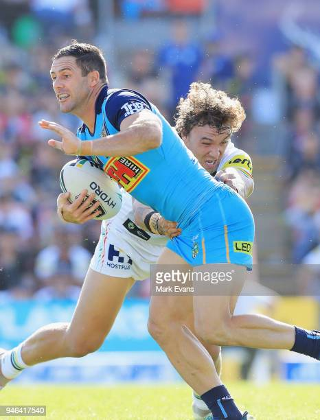 Michael Gordon of the Titans is tackled by James FisherHarris of the Panthers during the round six NRL match between the Penrith Panthers and the...