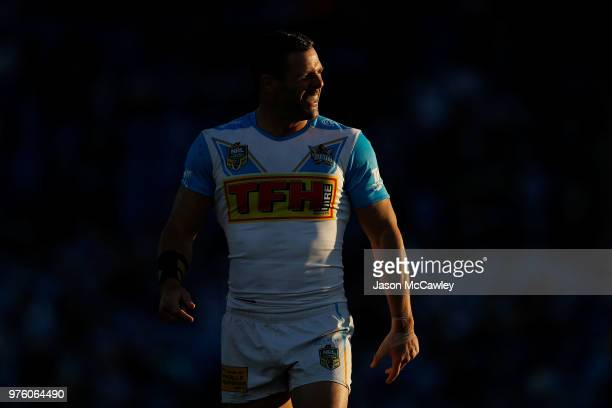 Michael Gordon of the Titans looks on during the round 15 NRL match between the Canterbury Bulldogs and the Gold Coast Titans at Belmore Sports...