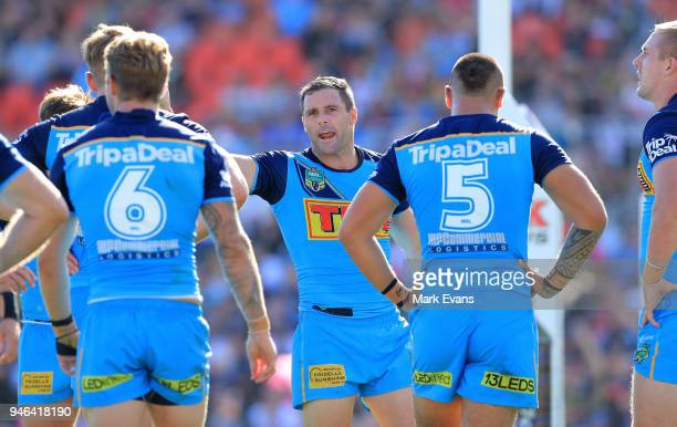 Michael Gordon of the Titans talks to team mates after a Panthers try during the round six NRL match between the Penrith Panthers and the Gold Coast...