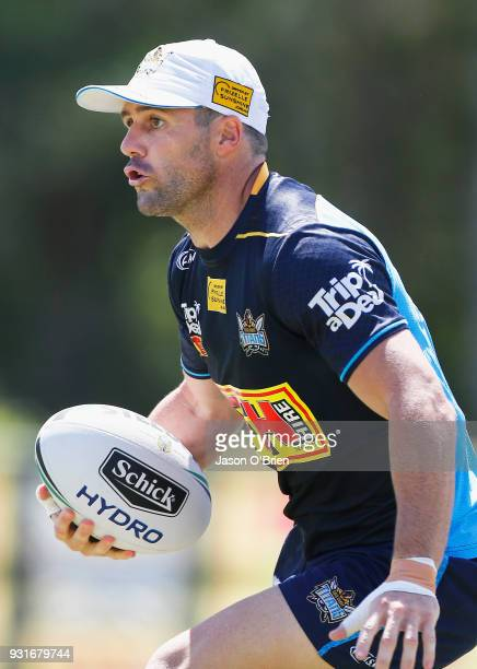 Michael Gordon runs the ball during a Gold Coast Titans NRL training session at Parkwood on March 14 2018 in Gold Coast Australia