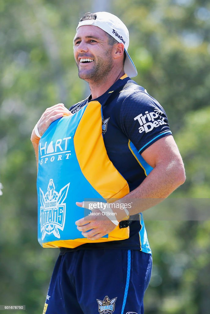 Michael Gordon smiles during a Gold Coast Titans NRL training session at Parkwood on March 14, 2018 in Gold Coast, Australia.