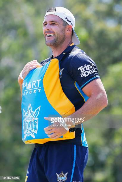 Michael Gordon smiles during a Gold Coast Titans NRL training session at Parkwood on March 14 2018 in Gold Coast Australia