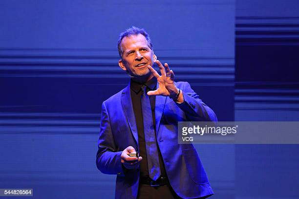 Michael Gough Chief design officer and vice President of Microsoft headquarters of the US delivers a speech during the International Conference of...