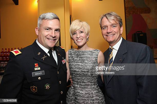 Michael Gould Rachelle Murry and Ray Kennedy celebrate 70 years of the USO on B Smith's New York Restaurant's 25th Anniversary on November 14 2011 in...