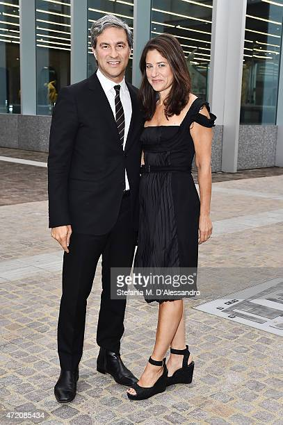 Michael Govan and Katherine Ross attend the Fondazione Prada Opening on May 3 2015 in Milan Italy