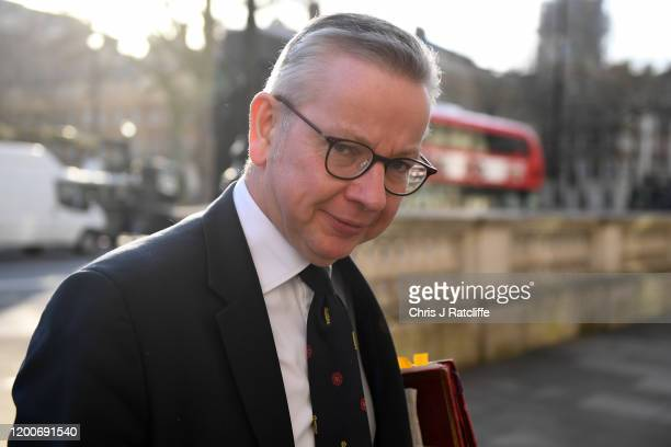 Michael Gove, Chancellor of the Duchy of Lancaster arrives for a cabinet meeting at Downing Street on February 14, 2020 in London, England. The Prime...