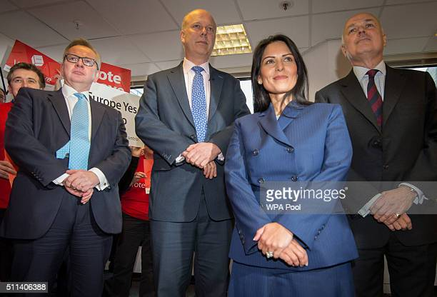Michael Gove Chris Grayling Priti Patel and Iain Duncan Smith attend the launch of the Vote Leave campaign at the group's headquarters on February 20...