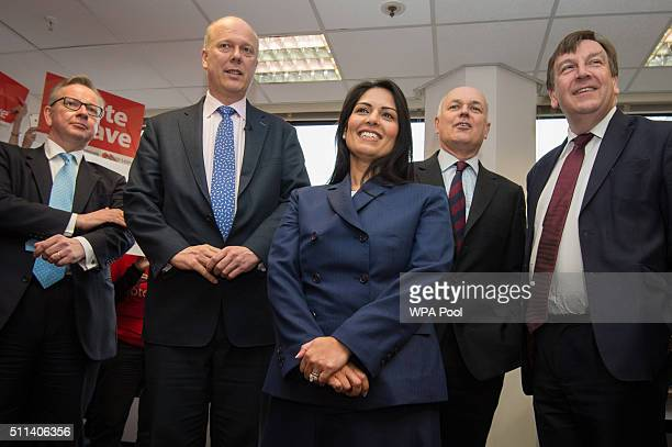 Michael Gove Chris Grayling Priti Patel Iain Duncan Smith and John Whittingdale attend the launch of the Vote Leave campaign at the group's...