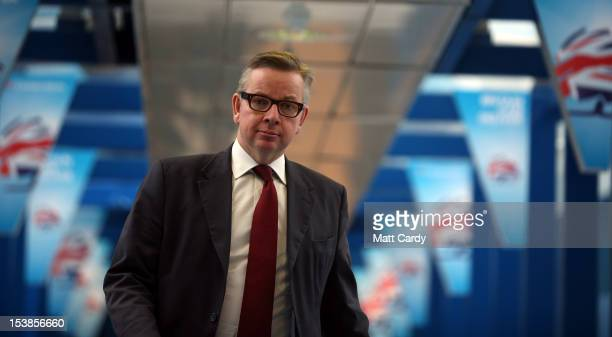 Michael Gove Secretary of State for Education arrives to listen to David Cameron speak to delegates on the last day of the Conservative party...