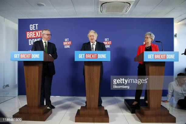Michael Gove senior UK cabinet minister left Boris Johnson UK prime minister center and Gisela Stuart former UK member of parliament for Labour...