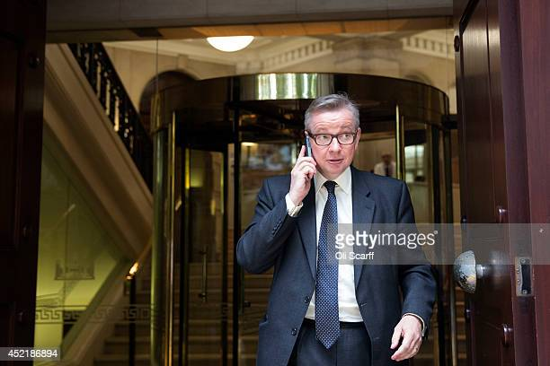 Michael Gove the former Education Secretary leaves a television studio in Westminster on July 15 2014 in London England British Prime Minister David...