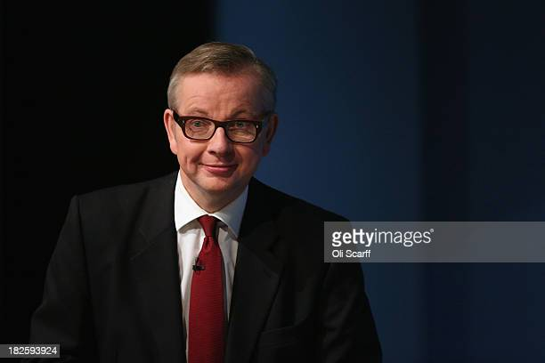 Michael Gove the Secretary of State for Education arrives to deliver his speech in the Main Hall of Manchester Central on the third day and...