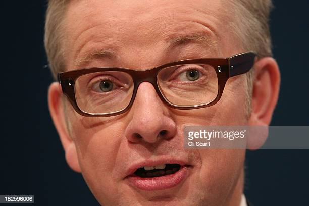 Michael Gove the Secretary of State for Education delivers his speech in the Main Hall of Manchester Central on the third day and penultimate day of...