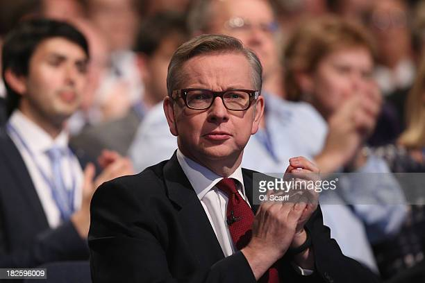 Michael Gove the Secretary of State for Education waits to deliver his speech in the Main Hall of Manchester Central on the third day and penultimate...