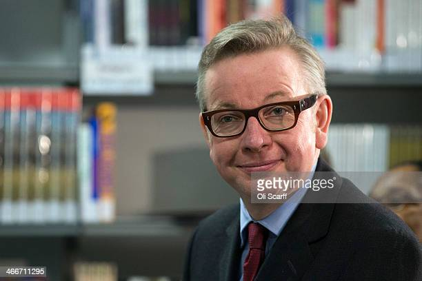 Michael Gove the Secretary of State for Eduction prepares to deliver a speech on eduction reform at the London Academy of Excellence on February 3...