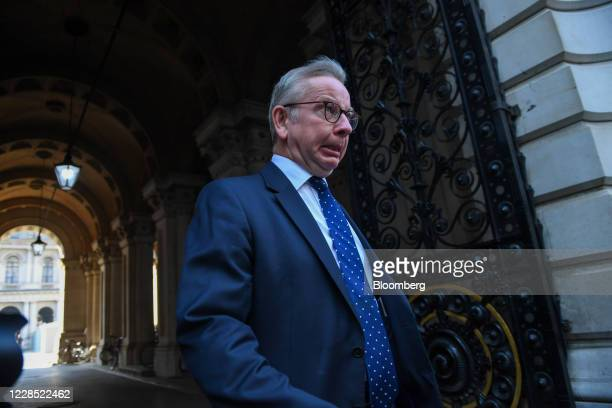 Michael Gove, U.K. Chancellor of the Duchy of Lancaster, departs from a meeting of cabinet ministers in London, U.K., on Tuesday, Sept. 15, 2020....