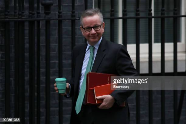 Michael Gove UK environment secretary arrives for a weekly meeting of cabinet ministers at number 10 Downing Street in London UK on Tuesday Jan 9...