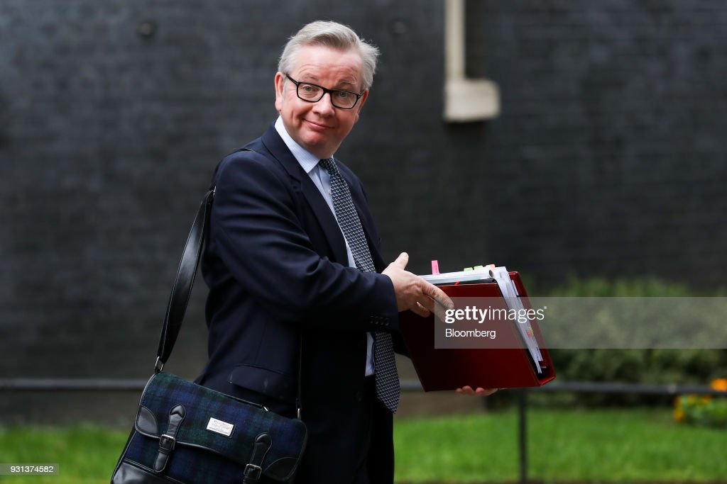 Michael Gove, U.K. environment secretary, leaves following a weekly meeting of cabinet ministers at number 10 Downing Street in London, U.K., on Tuesday, March 13, 2018. U.K. Prime Minister Theresa May publicly accused Russia of a chemical weapon attack on British soil and warned of retaliatory measures that will further strain relations between the West and the Kremlin. Photographer: Simon Dawson/Bloomberg via Getty Images