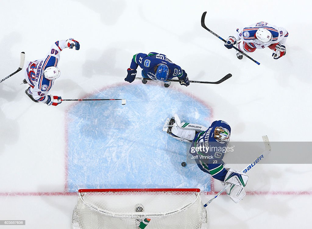 Michael Grabner #40 and Jesper Fast #19 of the New York Rangers celebrate a goal against Jacob Markstrom #25 of the Vancouver Canucks during their NHL game at Rogers Arena November 15, 2016 in Vancouver, British Columbia, Canada. New York won 7-2.