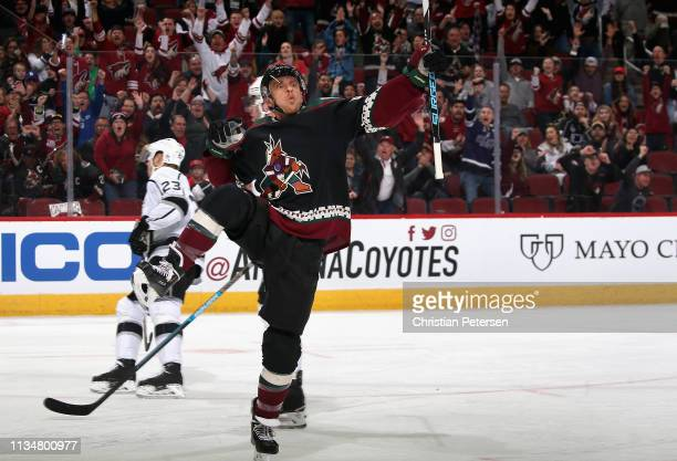 Michael Grabner of the Arizona Coyotes celebrates after scoring a short-handed goal against the Los Angeles Kings during the first period of the NHL...