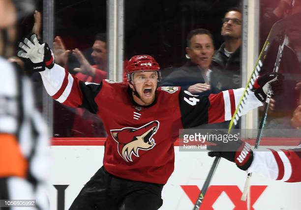 Michael Grabner of the Arizona Coyotes celebrates his game winning goal against the Carolina Hurricanes during the overtime period at Gila River...
